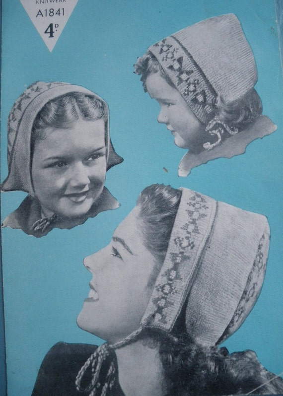 Vintage 1940s Knitting Pattern Girls Hat Cap Dutch Bonnet 40s