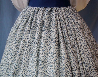 Floral Long Skirt for Costume - Pioneer SASS - Victorian Tea - Civil War Reenactment - Dark Blue Floral Scroll Cotton Print - Handmade