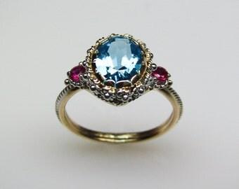 Blue Topaz & Ruby Ring - in 14K Gold
