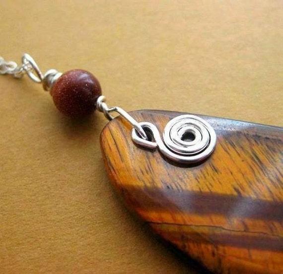 SALE Red Tiger Eye Pendant, Sterling Silver. Big Celtic Pendant. Mustard Brown. Selva