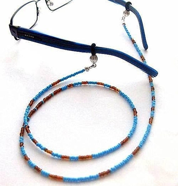 Blue Eyeglass Leash. Beaded Lanyard for Spectacles or Sunglasses.
