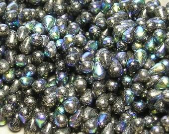 6x4mm Metallic Chrome AB Czech Glass Teardrop Beads (BS1)