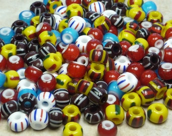 34/0 (8x6mm) Opaque Stripes and White Heart Color Mix Czech Glass Seed Beads 20 Grams (CS150)