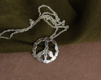 Peace Sign Sterling Necklace with Olive leaves World Peace Cutout open design