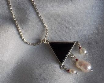 Black Onyx and Pearls Pendant, White Baroque pearls Sterling Necklace on Sale three pearls black triangle