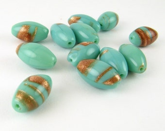 VINTAGE Swirled GLASS Barrel Teal Turquoise Aventurine Loose West German BEADS Jewelry Making Supplies
