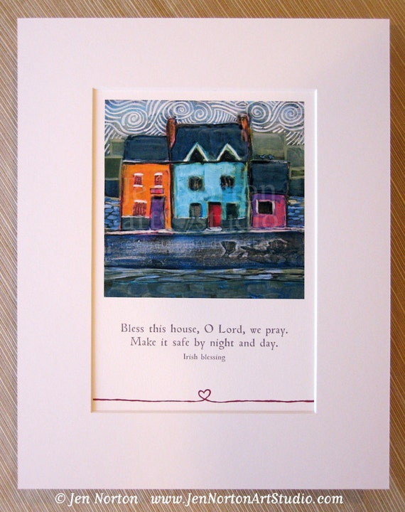 Colorful Irish Row House Matted Wall Art Print, Bless this House, Irish Blessing