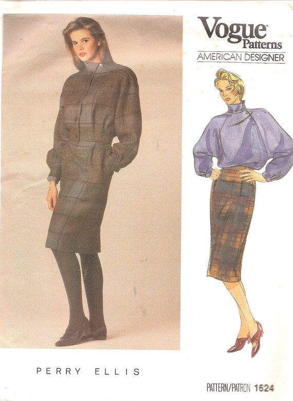 "Vintage Sewing Pattern Vogue 1624 1980s Jacket Skirt and Blouse Perry Ellis Bust 36"" Uncut"