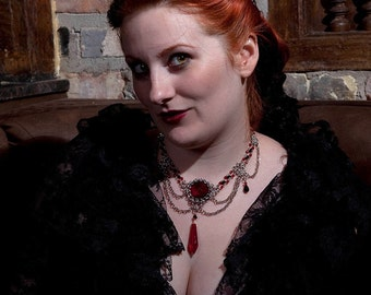 """Gothic Red Chainmail Necklace: """"Blood Countess"""" - Red and Black Chainmaille"""