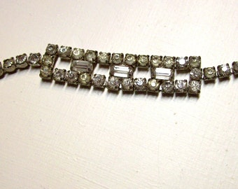 Vintage Silver tone Crystal Rhinestone Bracelet