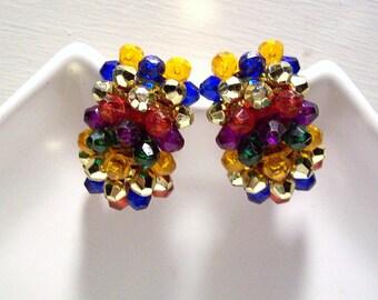 Vintage Gold tone Rainbow Cluster Bead Clip-on Earrings