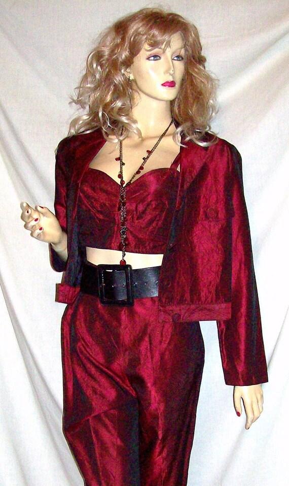 Vintage L.Bates Three Piece Outfit Pants Corset Tank Top Jacket M