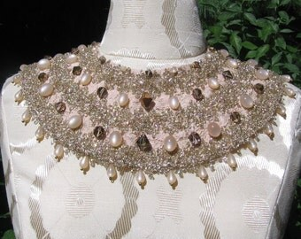 SALE Soft Pink Vintage Beaded Lace Collar Necklace