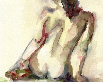 Female Portrait, Watercolor Print, Nude Figure, Yellow Painting, Wall Art, Decorative Art, Figurative Art, Nude Watercolor, Nude Female
