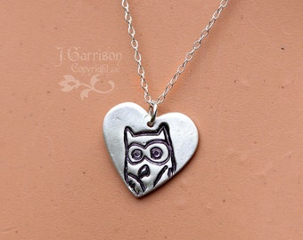 Owl Love You Forever necklace - handmade fine silver heart charm - woodland owl -sterling chain - free shipping USA