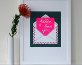 HELLO print (Moss & Neon) - UNFRAMED for worldwide delivery