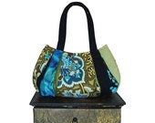 dazzling OOLONG TEA / Medium Hobo / black, turquoise & lime denim, satin, brocade and polka dot: by jennjohn