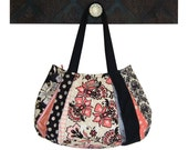 playful STRAWBERRIES & CREAM / Large Hobo with Zipper Closure / cream, black, coral pink, polka dots by: jennjohn