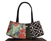 "purse & hand bag : Medium Satchel  - black,  green, floral Asian fusion fashion - ""BLUEBERRY GINSENG TEA"" handmade"