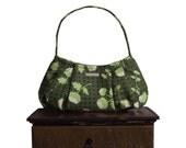 "purse & shoulder bag zipper closure : Small Hobo - olive sage green flower modern asian graphic - ""GINSENG TEA"""