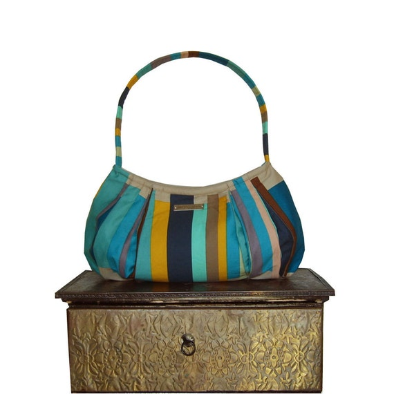 "purse & shoulder bag zipper closure : Small Hobo - turquoise, navy, teal blue, yellow, stripes - ""BLUE NEW YORKER"""