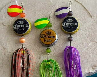 "Birthday Gift for Mens Gift for Him ""Corona"" 3pk Lures-The Original Spinning Bottle Cap Lures"