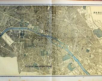 1891 Large Antique Map of Paris