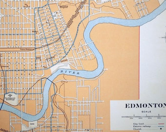 1915 Large Antique Street Map of Edmonton, Alberta, Canada
