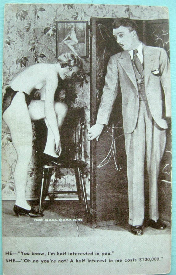 1930s Antique Black and White Funny Erotic or Nude Postcard 2