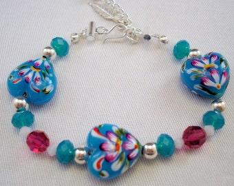 Heart Jewelry - Heart Bracelet - Heart Earrings - Glass Bead Bracelet - Glass Bead Earrings - Blue Jewelry - Blue Jewelry Set