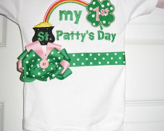 Baby girl My First St. Patricks Day bodysuit, First St. Patricks Day shirt