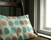 Bird Egg pillow case hand printed home decor linen lumbar size 12x16