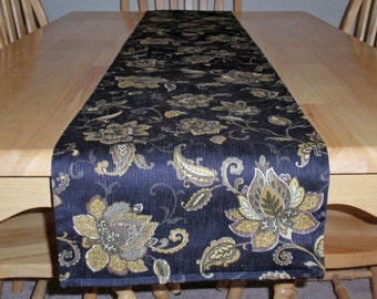 Handmade Table Runner - Elegant Persnickety Floral Tapestry Table Runner in Black & Gold With a Solid Black Back - Reversible Floral RUNNER