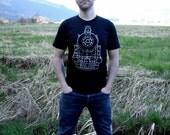 Clothing - Mens Train Tshirt - Mens Train T-shirt | Black American Apparel Royal Hudson Locomotive Train Tee - Black Tshirt - Gift for Him