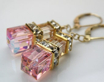 Light Pink Champagne Earrings, Gold Filled, Swarovski Crystal Cube Bridesmaid Jewelry Spring Wedding Fashion, Light Rose Crystal Dangle Drop