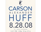 Birth Announcement Print - Personalized Custom Baby Boy Name Poster