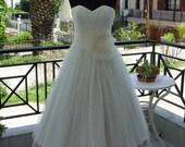 Polka Dot Tea Length Wedding Dress With Colourful Petticoat