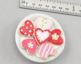 Dollhouse Miniature Valentine Cookies on Ceramic Plate