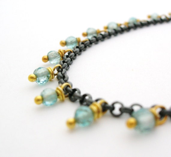 SALE Blue Zircon Gemstone Chain Bracelet blue jewelry oxidized sterling silver and 24k vermeil gold