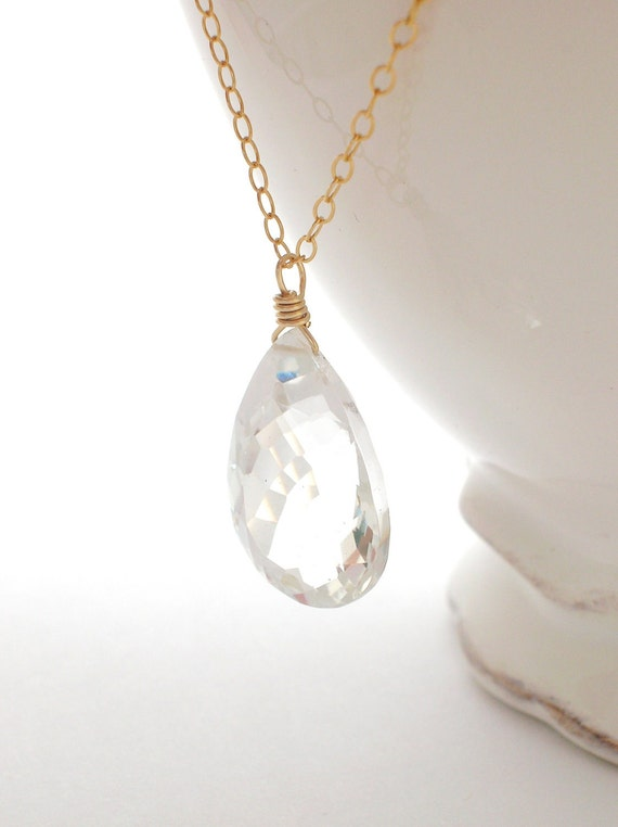 Crystal Quartz Necklace gold filled wire wrapped jewelry clear gemstone pendant april birthstone