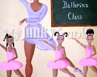 1/2 Price OVERSTOCK Sale- Baby Ballerinas- African American Art Little Girls Natural Hair Art Ballet Class Black Art Print