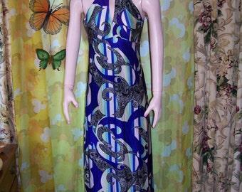 Halter Dress, 60s mod halter dress, 60s beach dress,  mod abstract dress,  Mod resort dress,  size M
