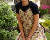 Flirty Hostess Wild Flowers Apron -- Country Folk Art Floral in Light Brown, Red, Harvest Gold