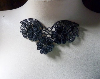 3 Lace Appliques in Black for Necklaces, Garments, Costume Design SBLA 500
