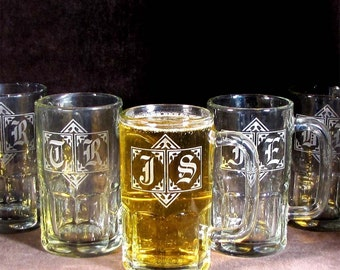 Eight 8 Monogrammed Beer Mugs Groomsmen Gifts Etched Glass