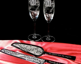 Personalized Music Note Wedding Cake Server and Champagne Glass Set