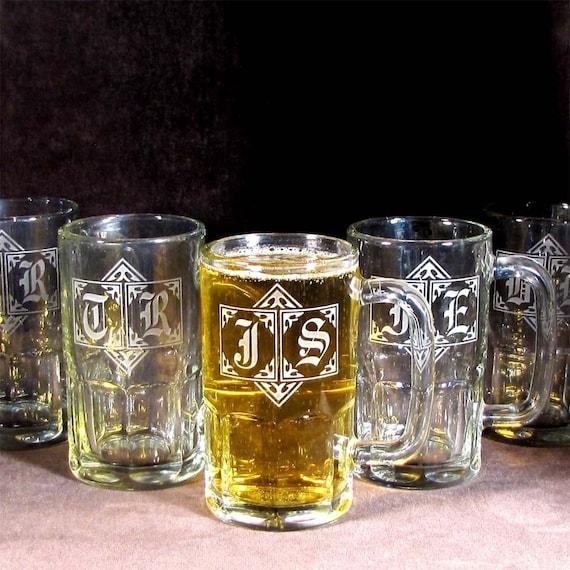 9 Beer Steins Monogrammed Groomsmen Gifts Etched Glass Beer Mugs Presents for Men