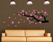 Cherry Blossom Branch  wall decal, office decal, bedroom wall vinyl decor