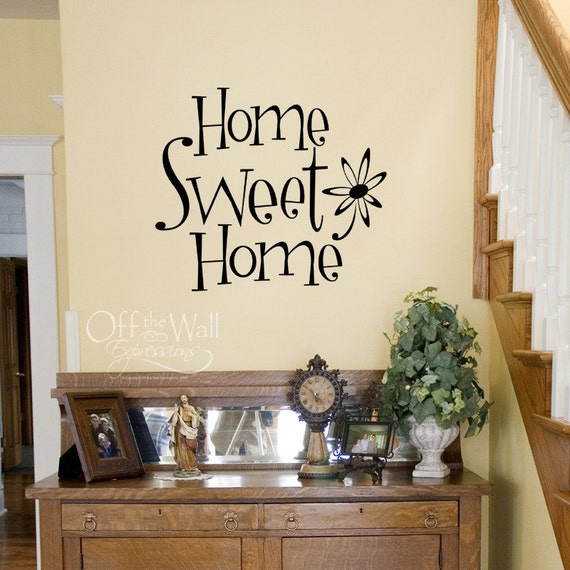 Home Sweet Home vinyl wall decal, entryway wall words, welcome decal, fun funky flower home decal, foyer decor