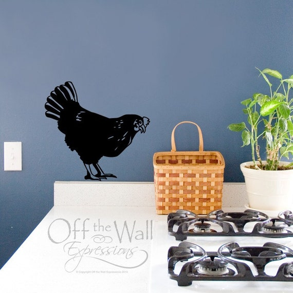 Chicken wall decal, farmhouse decor, decals for kitchen, french country, shabby chic